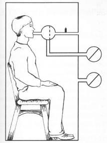 Схематическое изображение техники проведения бодиплатизмографии
